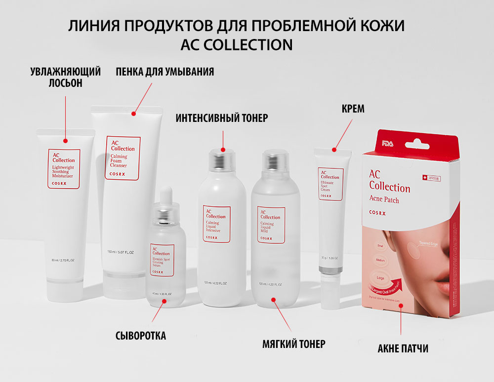 Все продукты линии для проблемной кожи Cosrx AC Collection