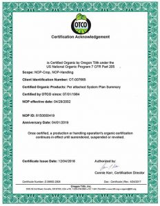 hibiscus usda certificate
